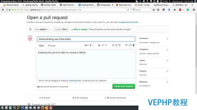 open a pull request in github repository